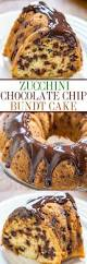 zucchini chocolate chip bundt cake with chocolate ganache averie