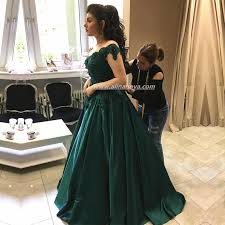engagement dresses emerald green satin engagement dresses lace shoulder prom