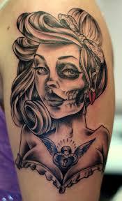sugar skull pin up on shoulder photo 2 2017