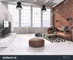 Loft Interior Living Room Loft Interior 3d Rendering Stock Illustration