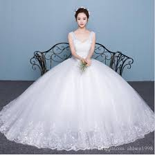 wedding dress korean new explosion of hot korean wedding dress shoulders v collar thin