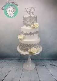 wedding cake lace wedding cake with gray cake lace and modeling chocolate roses