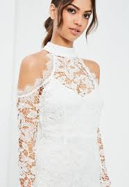 cold shoulder wedding dress white lace cold shoulder bodycon dress missguided ireland
