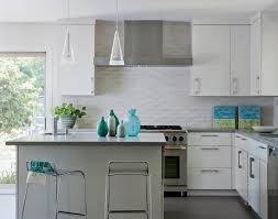 White Glass Backsplash by Kitchen Brightly White Kitchen Combined With Colorful Flower