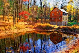 forest house near forest pond colorful serenity peaceful lake red