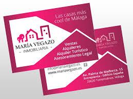 tarjeta de visita diseo diseño de tarjetas de visita para maria vegazo inmobiliaria diseño
