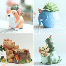 Animal Pots by Set Of 4 Cute Animal Resin Succulent Pots Mybageecha