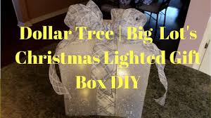 outdoor lighted gift boxes dollar tree big lot s christmas lighted gift box diy youtube
