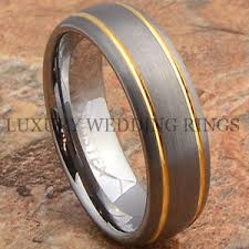 brushed gold wedding band mens tungsten ring 14k gold wedding band 7mm titanium color