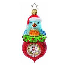 reflection of happiness bluebird ornament inge glas santa hat
