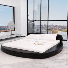 chambre avec lit rond cadre de lit en pu rond avec 2 tablettes 180 x 200 cm noir