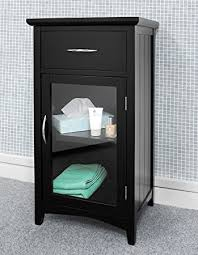 Bathroom Storage Black Ascot Vanity Unit Fully Assembled Glass Door Cabinet In Black Or