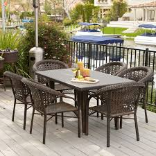 6 Person Patio Dining Set - brooke all weather wicker patio dining set seats 6 hayneedle