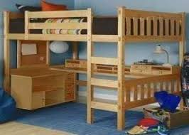 Wooden Bunk Bed With Desk Wood Bunk Bed With Desk Underneath Foter