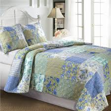 Country Duvet Covers Quilts King Size Cotton Paisley Patchwork Quilt Set In Blue Green Yellow