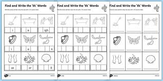 find and write the th words differentiated activity sheet pack