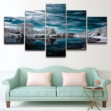 online shop 5 pieces canvas artistic cyan earth reflection sky