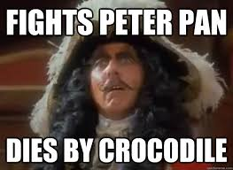 Hook Meme - fights peter pan dies by crocodile wtf captain hook quickmeme
