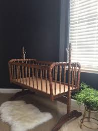 Antique Jenny Lind Twin Bed by Vintage Wooden Rocking Jenny Lind Baby Crib Spindle