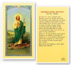 thanksgiving novena st jude laminated prayer cards 25 pack from