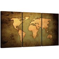 Wall Art World Map by Vintage World Map Canvas Art Set Of Three For Your Study