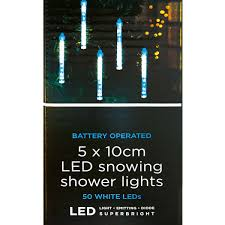 Solar Powered Icicle Lights by Outdoor Battery Snowing Shower Icicle Lights 50 White Leds 5 X