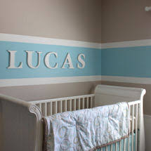 striped nursery decorating ideas for walls of a baby boy or
