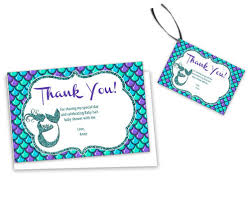 thank you baby shower mermaid baby shower thank you cards or tags party print express