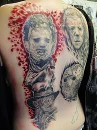 tattoo back face skull and skeleton with scary face tattoo on back
