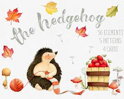 fall clipart hedgehog clipart autumn clipart fall leaves