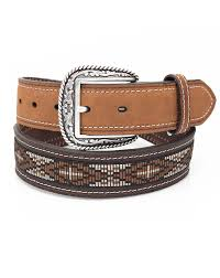 brown ribbon ariat men s cross ribbon overlay belt brown