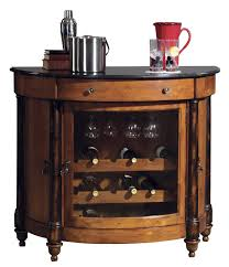 Wood Bar Cabinet Small Circular Wood Bar Cabinet With Glass Door Decofurnish