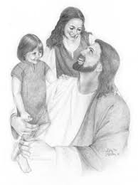 pencil drawings of jesus christ and children