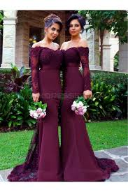wedding party dresses sleeves the shoulder lace purple mermaid wedding party dresses