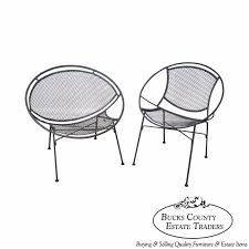 Salterini Patio Furniture Tempestini Salterini Vintage Pair Of Iron Clamshell Hoop Patio