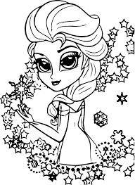 elsa frozen chibi coloring wecoloringpage