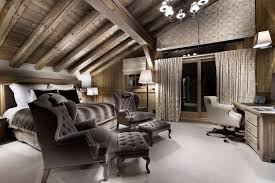 Architectural Bedroom With Aslant Ceiling With Beams Furnished - Luxury bedroom chairs