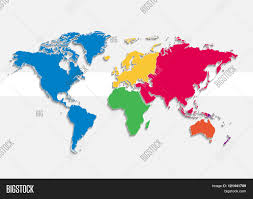 Europe And Asia Map by World Map Continents Colors Raster Individual Separate
