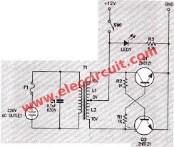 simple inverter schematic diagram use mj2955 eleccircuit