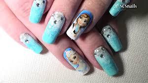 disney inspired frozen nail art tutorial timelapse video