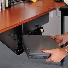 Computer Desk Lock Black Box Secure Laptop Lockbox Cabinet Cableorganizer
