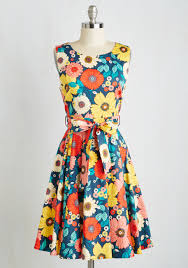 flower dress hour by flower a line dress in retro blossom retro floral