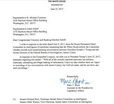 whitehouse bureau de change white house letter to select committee on intelligence on the comey