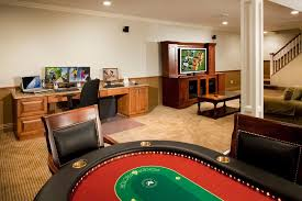 Big Game Room - video game room design ideas with dim lights and theater interior