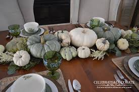 thanksgiving table in green white celebrate decorate