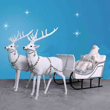 Christmas Decorations Santa Sleigh And Reindeer by Santa Sleigh And Reindeer Displays Indoor Or Outdoor