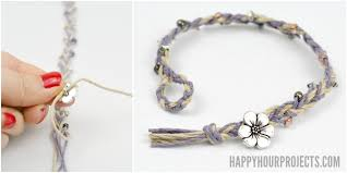 braided bracelet with bead images Diy beaded button clasp hemp bracelets happy hour projects jpg