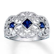 silver sapphire rings images Kay lab created sapphire ring with diamond accents sterling silver jpg
