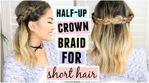 hairstyle with 2 shoulder braids half up crown braid for short medium length hair youtube
