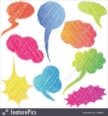 speech bubble hand drawn illustration of colorful hand drawn speech and thought bubbles